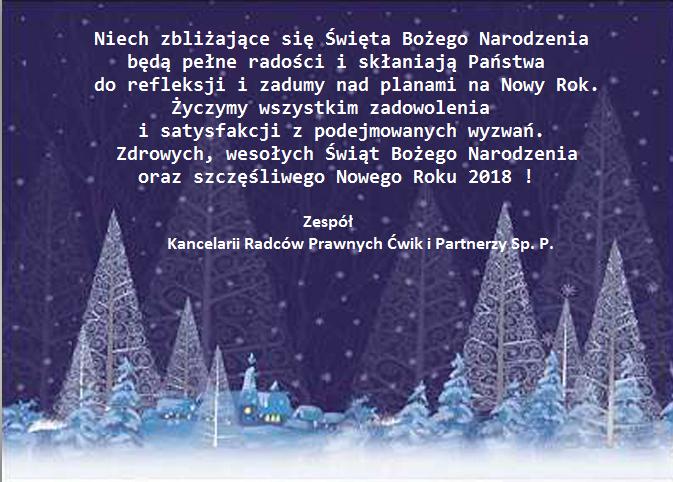 Zdrowych, Wesołych Świąt Bożego Narodzenia oraz Szczęśliwego Nowego Roku 2018 !