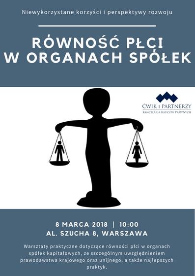 Równość płci w organach spółek – Akademia Kancelarii 8 marca 2018 r.